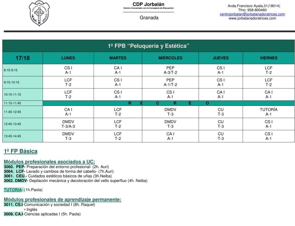Horario 1º FPB