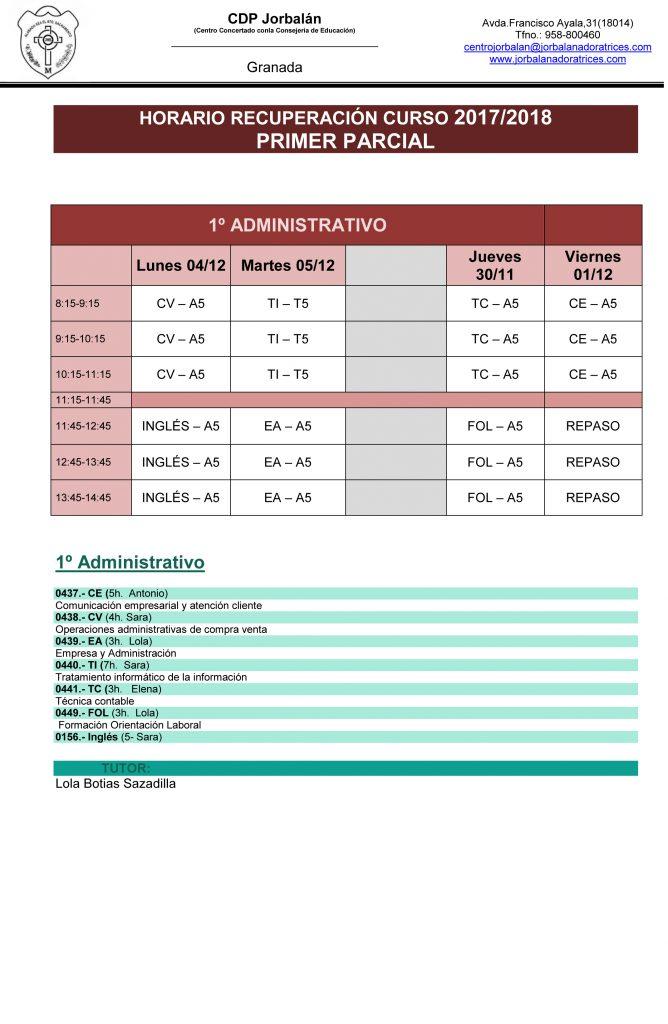 Recuperaciones 1er Parcial 2017-2018