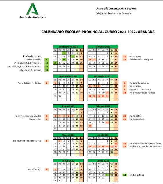 calendario escolar curso 21-22 centro Jorbalan